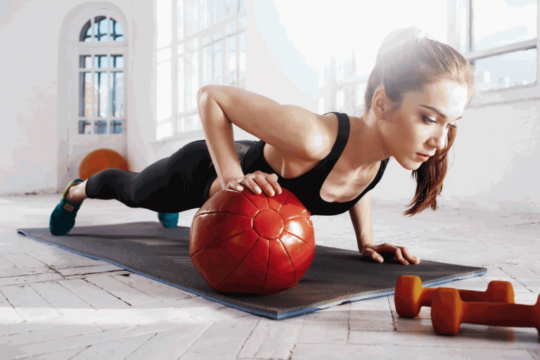 medicine ball push up home tighten exercise